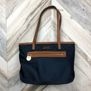 Michael Kors Navy Blue and Brown Nylon Purse Tote